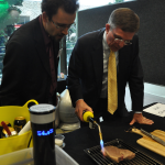 Minister for Science Ian Walker enjoys a sous vide steak with Dr Joel Gilmore